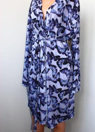 Стильное фиолетово синее платье халат на запах в бабочки м-л, 46-48