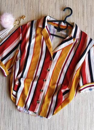 Трендовая шифоновая блуза рубашка в полоску на пуговицах
