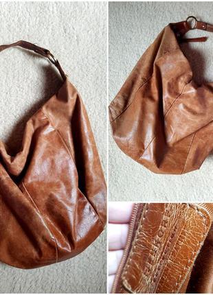 Стильная кожаная сумка шопер италия