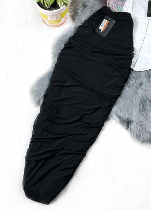 Чёрная миди юбка