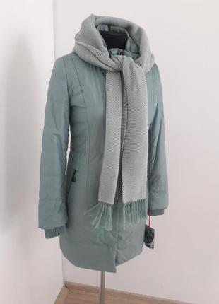 Подовжена куртка з шарфом ціна закупки