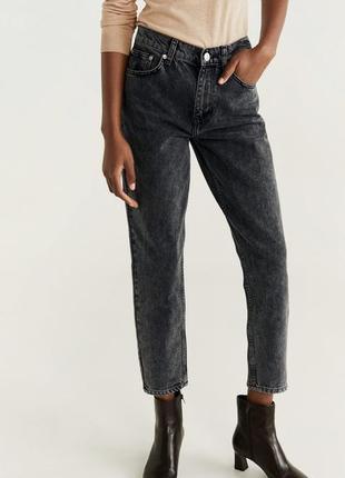 Идеальный мом джинсы высокая посадка серые