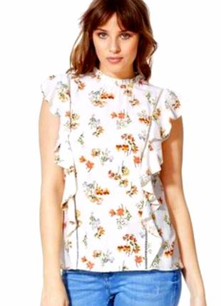 Нежная натуральная цветочная блуза с рюшами от f&f