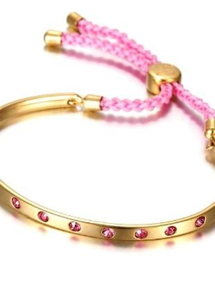Позолоченный браслет с розовым шнурком