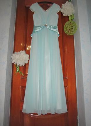 Платье вечернее в пол, нарядное выпускное шифоновое длинное брошь плаття сукня