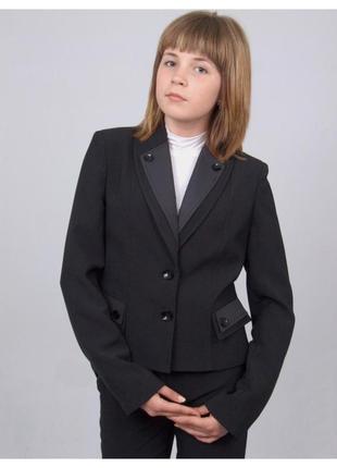 """Пиджак школьный для девочки черный с отделкой м-958 рост 128 и 152 тм """"попелюшка"""""""