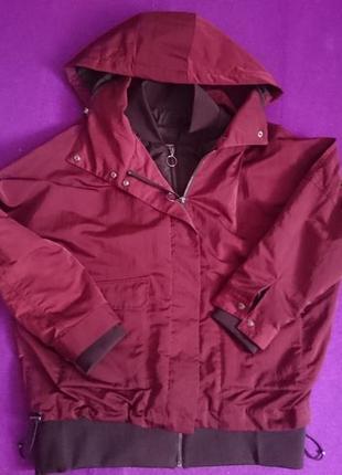 Двойная куртка ветровка цвета марсала с кольцом