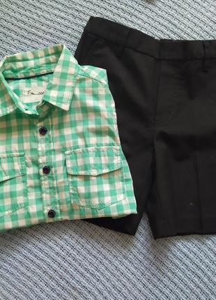 Котоновая рубашка и шорты комплектом