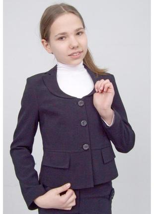 """Пиджак школьный для девочки м-924 рост 158 164 170 черный тм """"попелюшка"""""""
