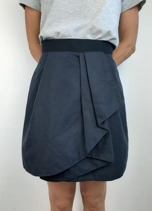 Брендовая качественная летняя юбка темно-синяя cos натуральные ткани