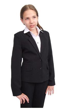 """Пиджак школьный для девочки м-922 рост 134 и 140 черный тм """"попелюшка"""""""
