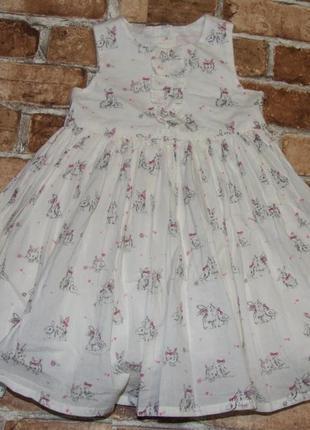 Платье с зайцами кролями 12-18 мес девочке 1 - 2 года