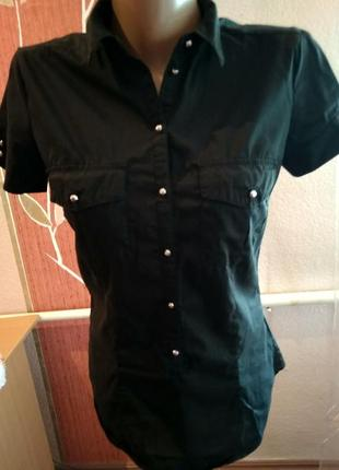 Стрейчевая  рубашка чёрного цвета