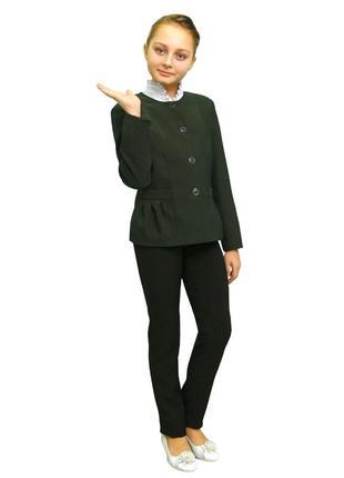 Пиджак школьный для девочки м-863 рост 116 122 128 134 140 146 152 158 164 170 зеленый