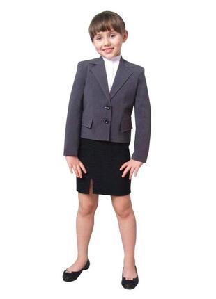 """Пиджак школьный для девочки м-511 рост 116 128 134 140 146 152 158 серый тм """"попелюшка"""""""