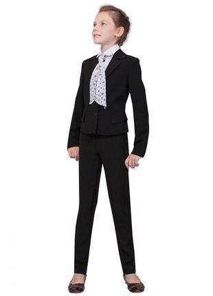 """Пиджак школьный для девочки м-511 рост 122 128 140 черный тм """"попелюшка"""