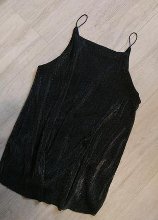 Майка, вечерняя блуза, вечерний топ, тонкие бретели. размер 46-48