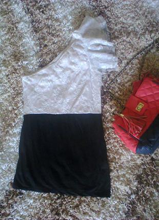 Гипюровая кружевная блуза майка на одно плече s vero moda