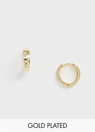🌾🐈 позолоченные серьги-колечки с натуральным кубическим цирконием от orelia с сайта asos