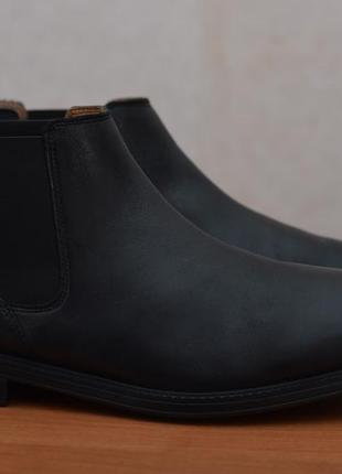 Черные кожаные высокие туфли, ботинки, челси clarks, 43 размер. оригинал
