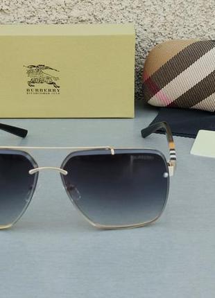 Burberry очки женские солнцезащитные темно серые с градиентом в золотой оправе