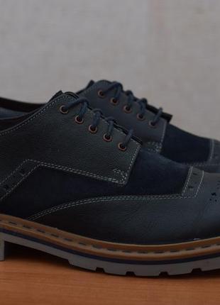 Синие кожаные туфли оксфорды clarks, 44.5 размер. оригинал