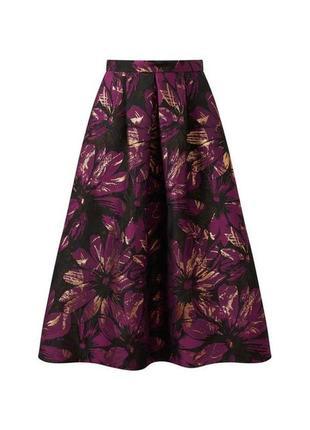 Фиолетовая жаккардовая юбка-миди с цветочным принтом
