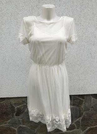 Воздушное кружевное платье, туника кремового цвета