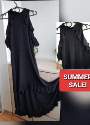 Черное платье со шлейфом спереди короче сзади длиннее рюши трикотаж гольф zack london