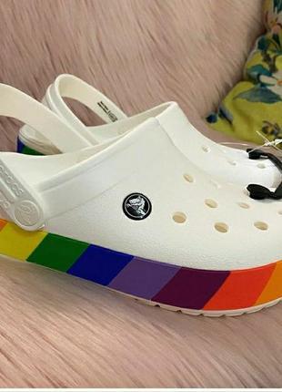 Crocband rainbow block clog white кроксы сабо радуга радужные