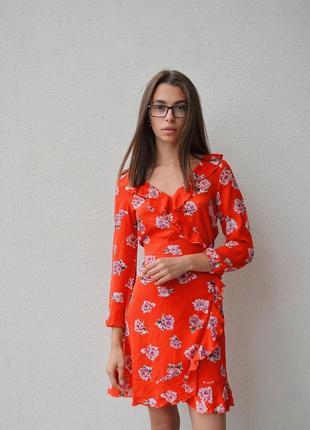 """Червона літня сукня з квітами на запах """" house"""""""