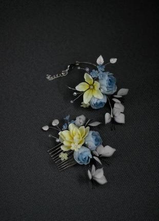 Набор / гребень и браслет с цветами и бабочками.