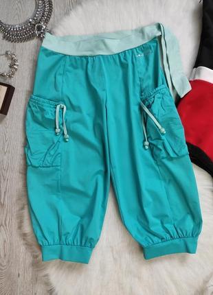 Голубые бирюзовые спортивные длинные шорты бриджи супер стрейч с карманами поясом бантом