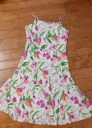 Лляне плаття сарафан, рожеві квіти.  льняное платье сарафан, цветы.