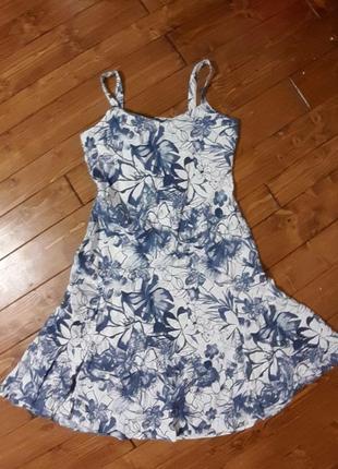 Лляне плаття сарафан, квіти. льняное платье сарафан, цветы