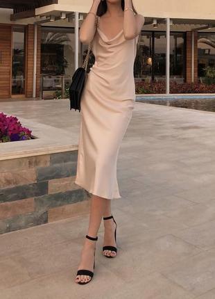 Шелковое платье комбинация