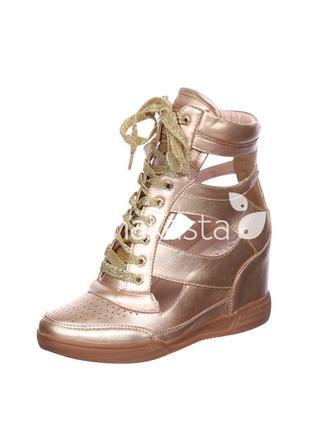 Демисезонные модные золотисто - бронзовые сникерсы