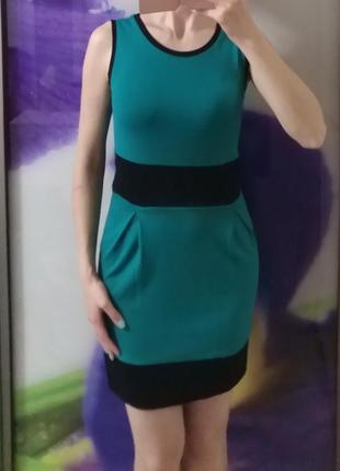 Платье зеленое/бирюзовое bonprix (xs, s)