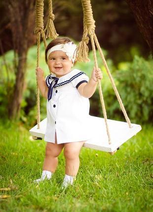 Нарядное красивое платье морячка для девочки