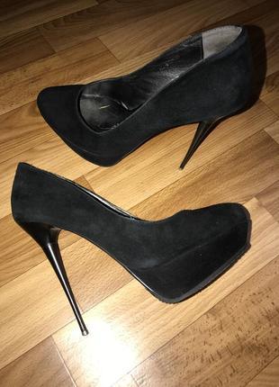 Туфли женские чёрные grado натуральный замш, размер 36-37