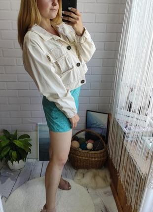 Трендовая объемная рубашка-джинсовка bershka с пуговицами