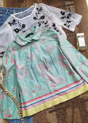 Ментоловая рубашка / блуза / сорочка / бохо / блузка / топ / футболка кроп