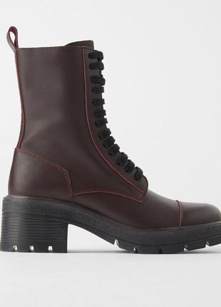Кожаные ботинки zara со шнуровкой, размеры 38,40