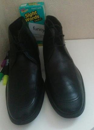 Ботинки calvin klein черного цвета кожаные.