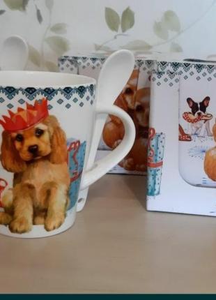 Чашка с ложкой в подарочной упаковке щенок