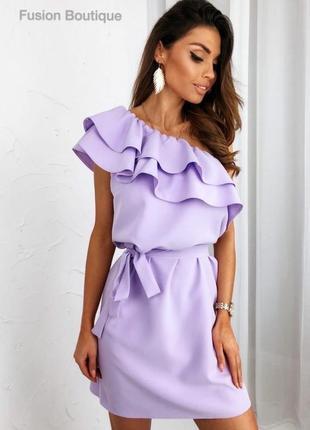 Платье сирень с воланом
