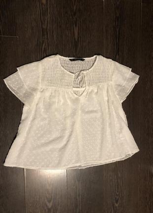 Нежная белая блуза zara