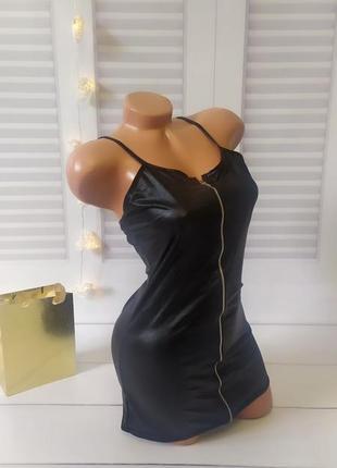 Игровое сексуальное платье под кожу черного цвета, размер s/m. в комплект входят трусики.