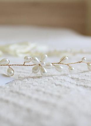Свадебное украшение, украшение для волос, свадебной прически, под жемчуг, венок, заколка