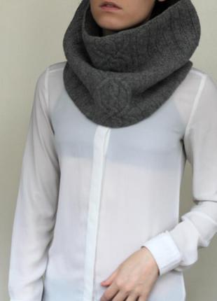 Шарф хомут/ серый вязанный шарф/ шарф-труба/
